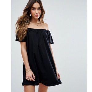ASOS Off Shoulder Black Dress 8